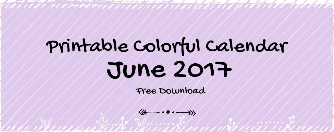 colorful printable calendar-June 2017