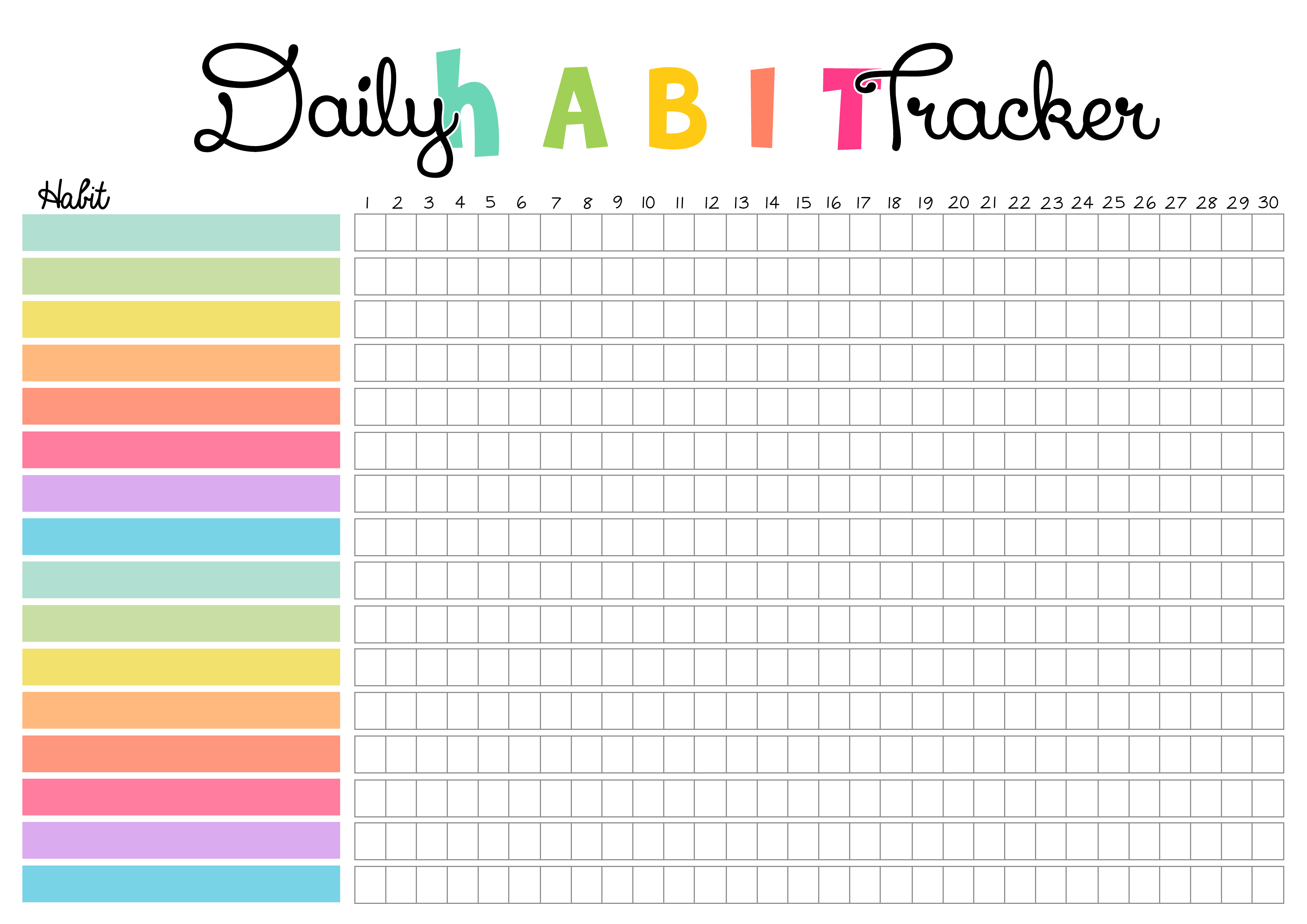 free colorful print daily habit tracker colorful zone