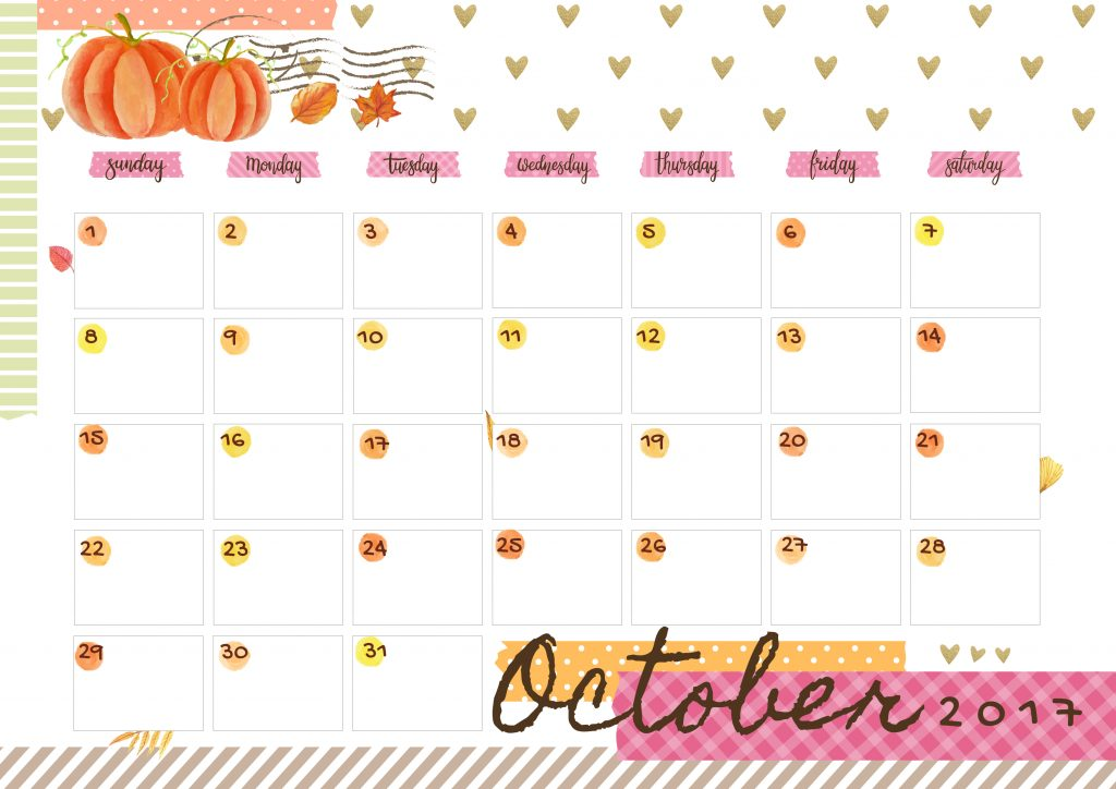 October 2017 Printable Colorful Calendar – Free Download