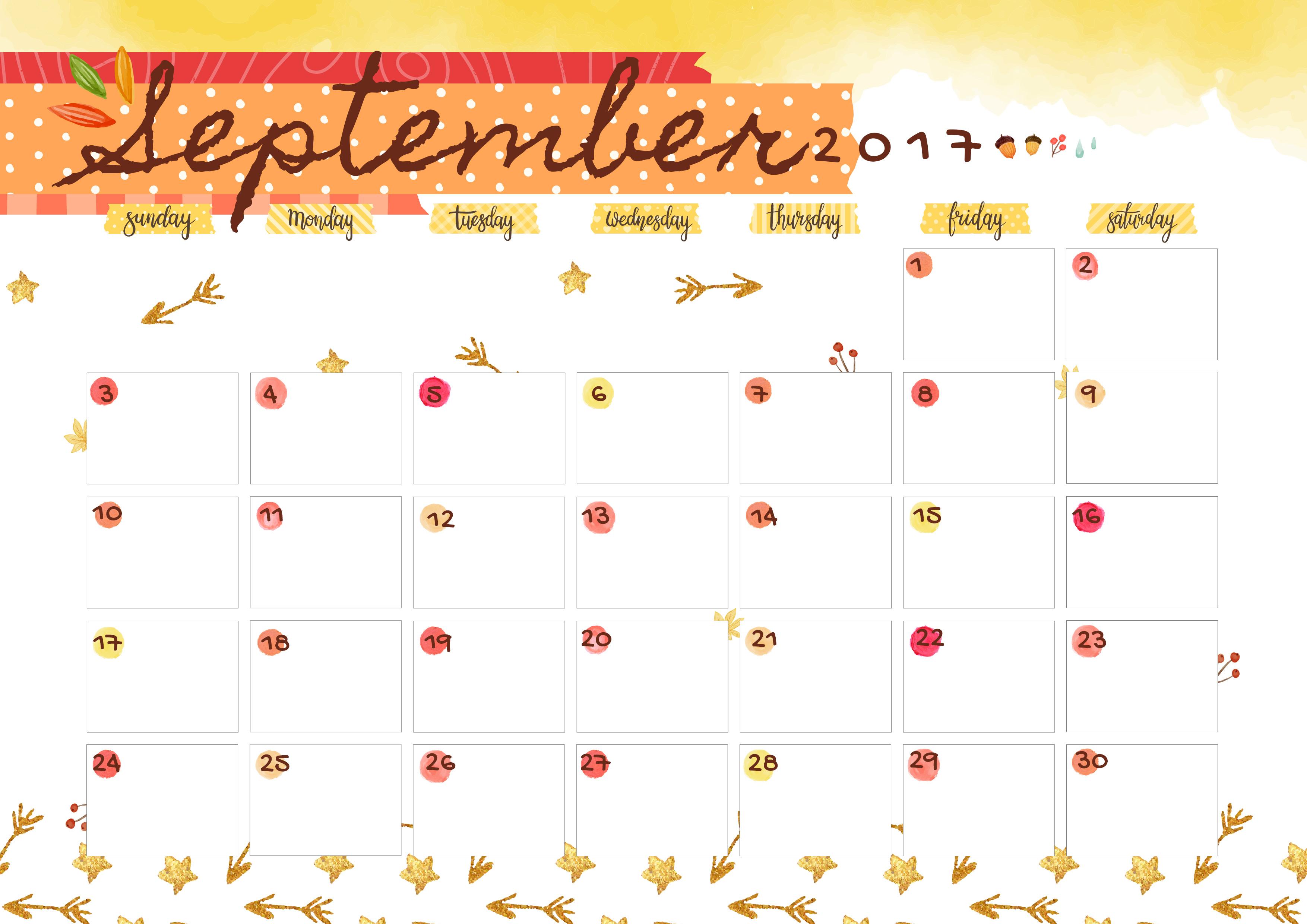 september 2017 printable colorful calendar free download