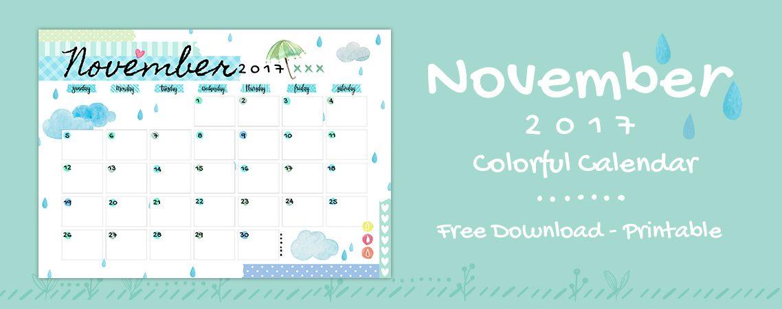 November 2017 Printable Colorful Calendar