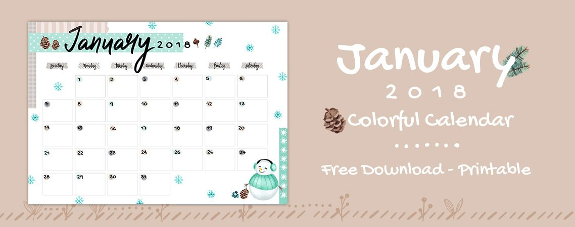 January 2018 Printable Colorful Calendar – Free Download