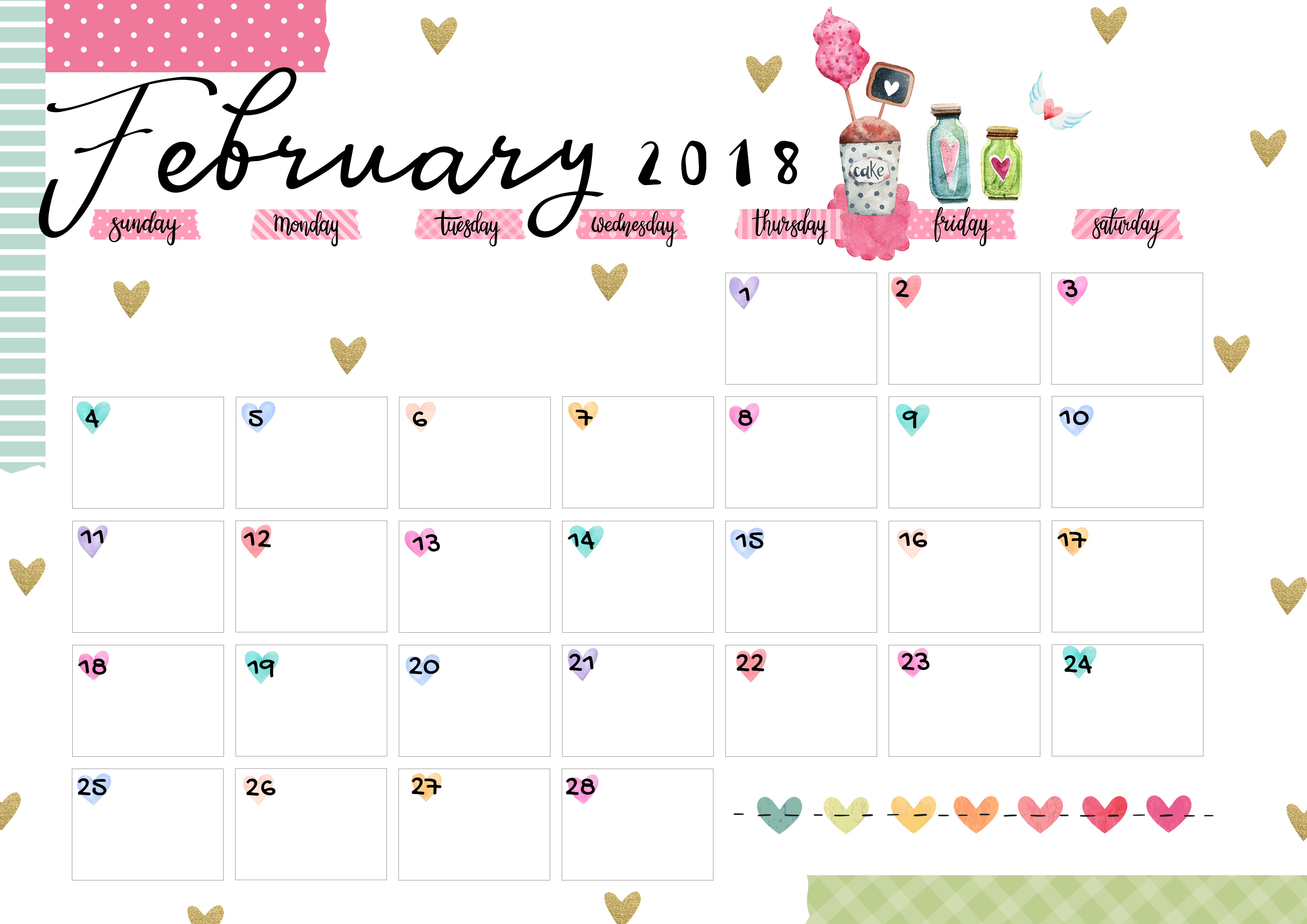 february 2018 printable colorful calendar