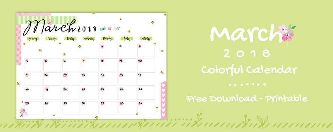 March 2018 Printable Colorful Calendar