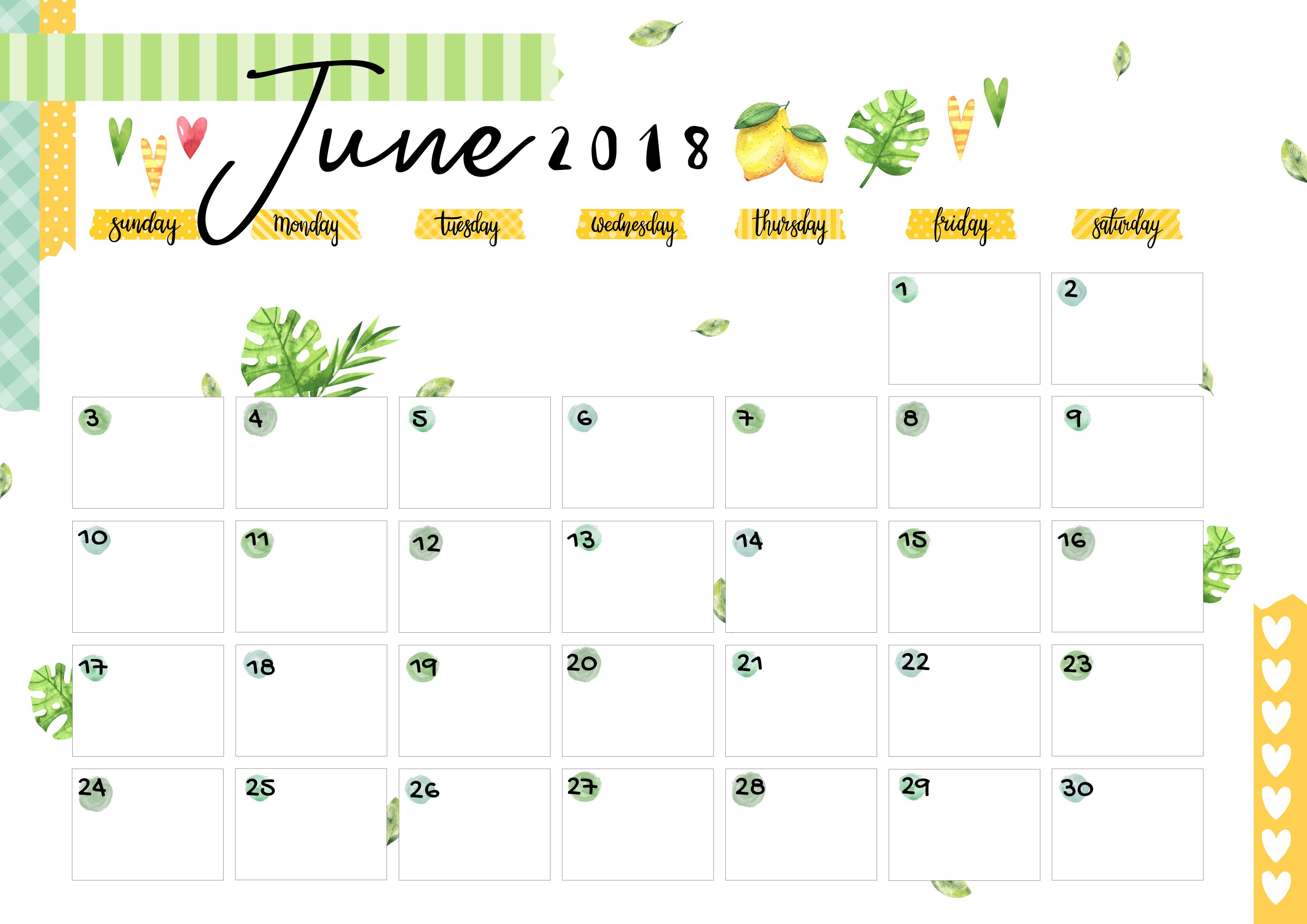 June 2018 Printable Colorful Calendar