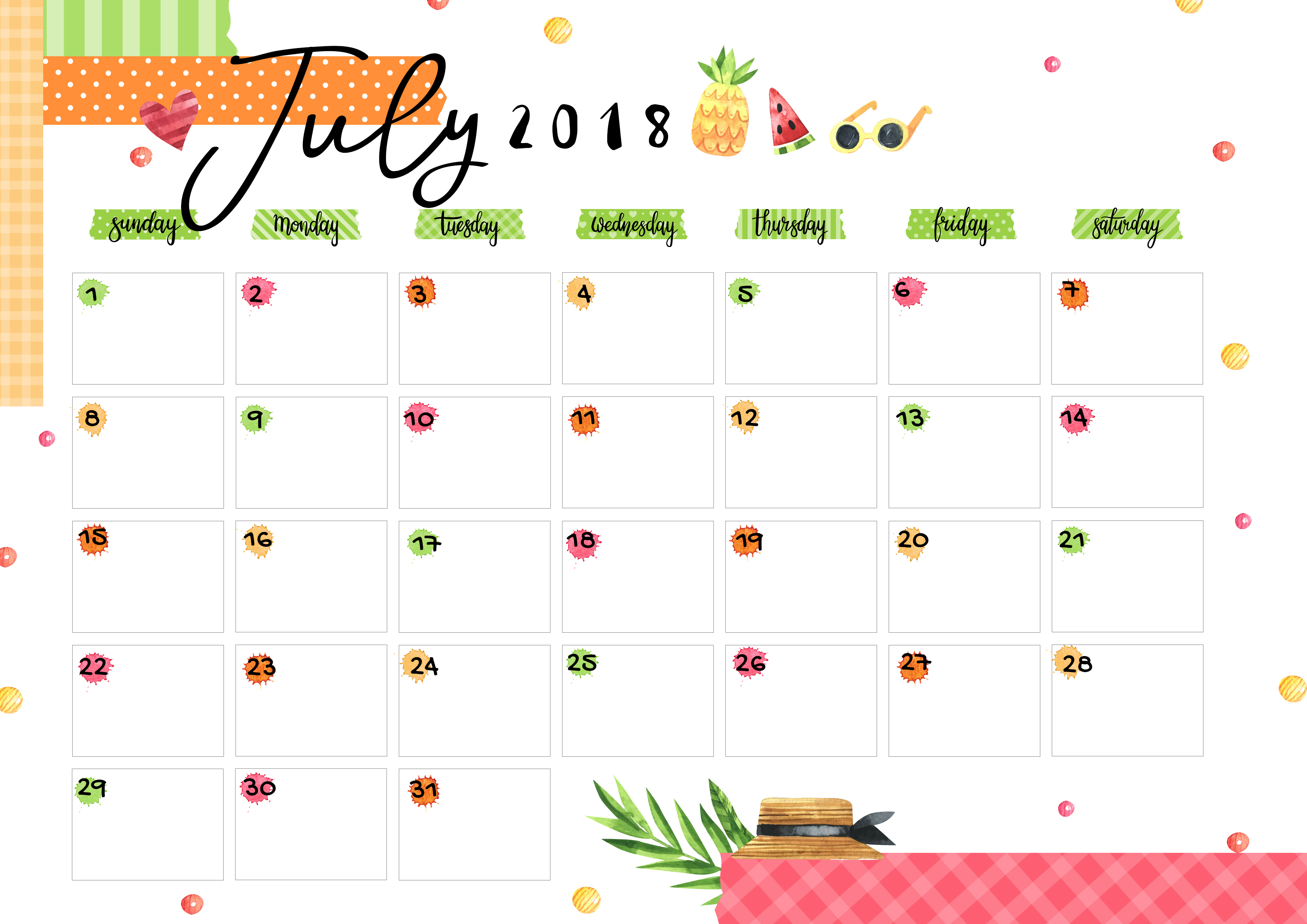 July 2018 Printable Colorful Calendar