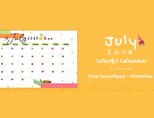 July 2018 Printable Colorful Calendar – Free Download