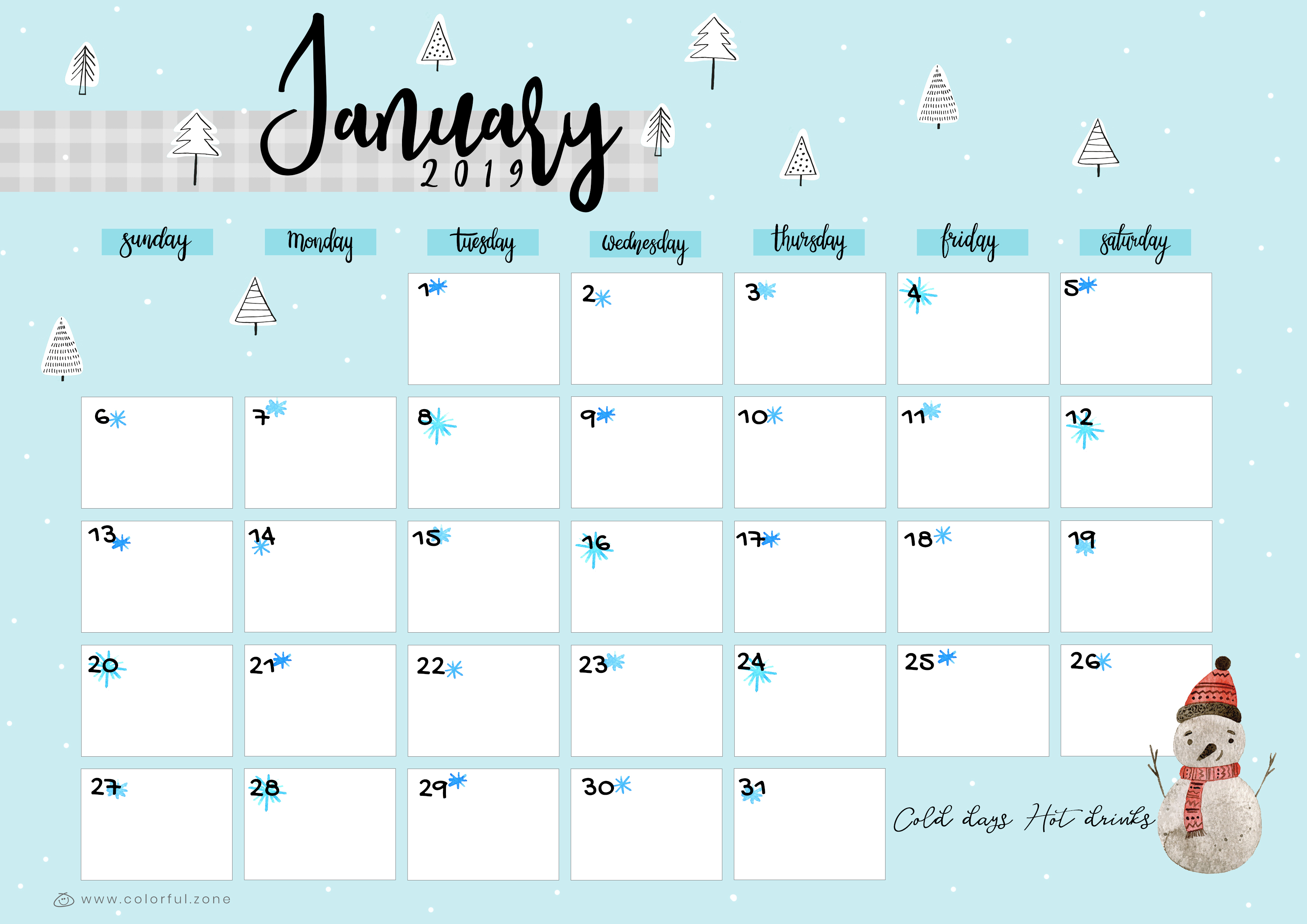 January Printable Colorful Calendar 2019