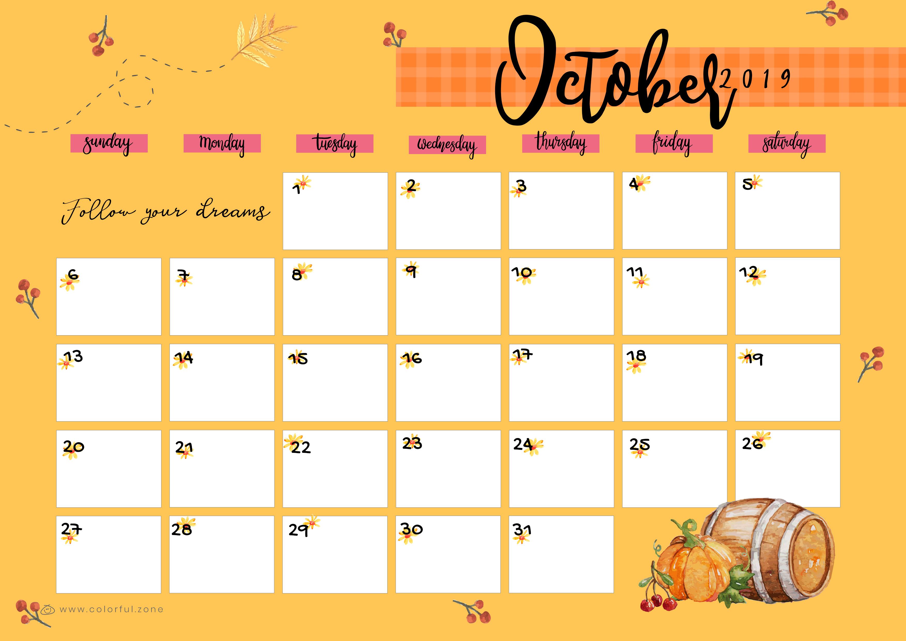 October Printable Colorful Calendar 2019