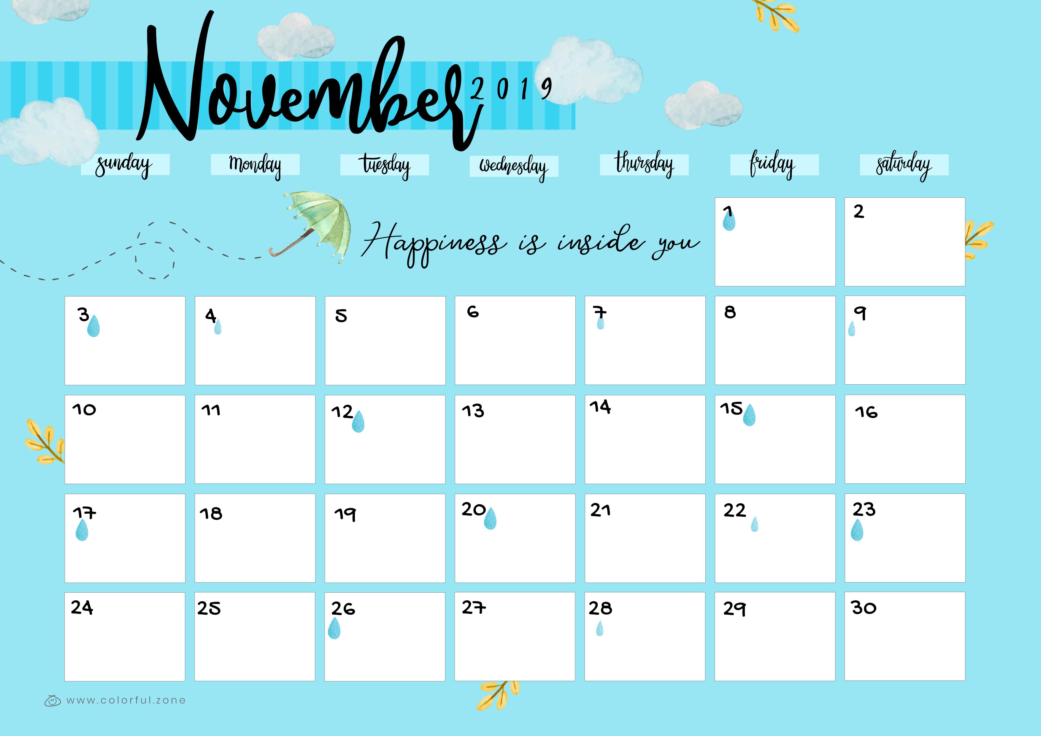 November Printable Colorful Calendar 2019