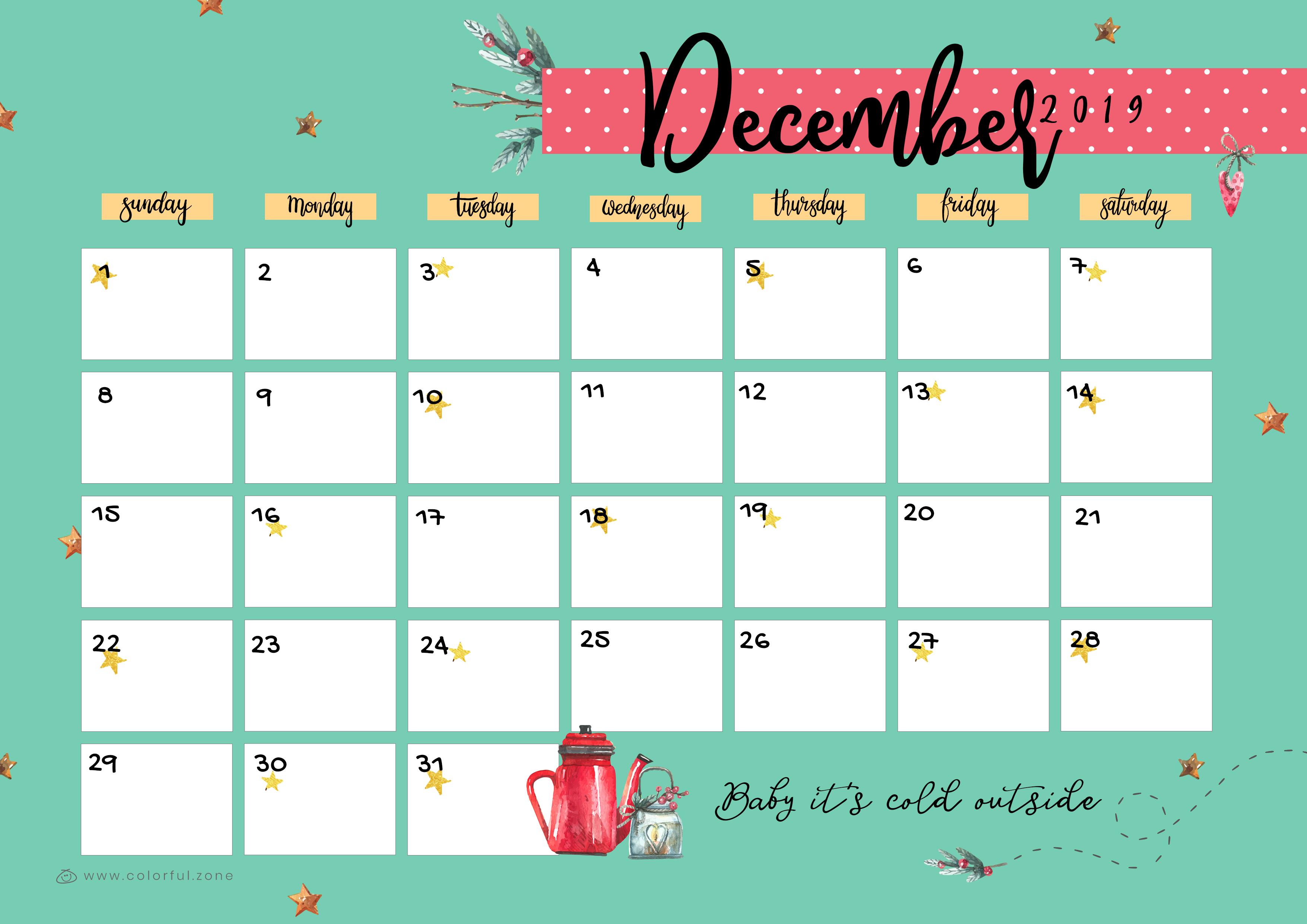 December Printable Colorful Calendar 2019