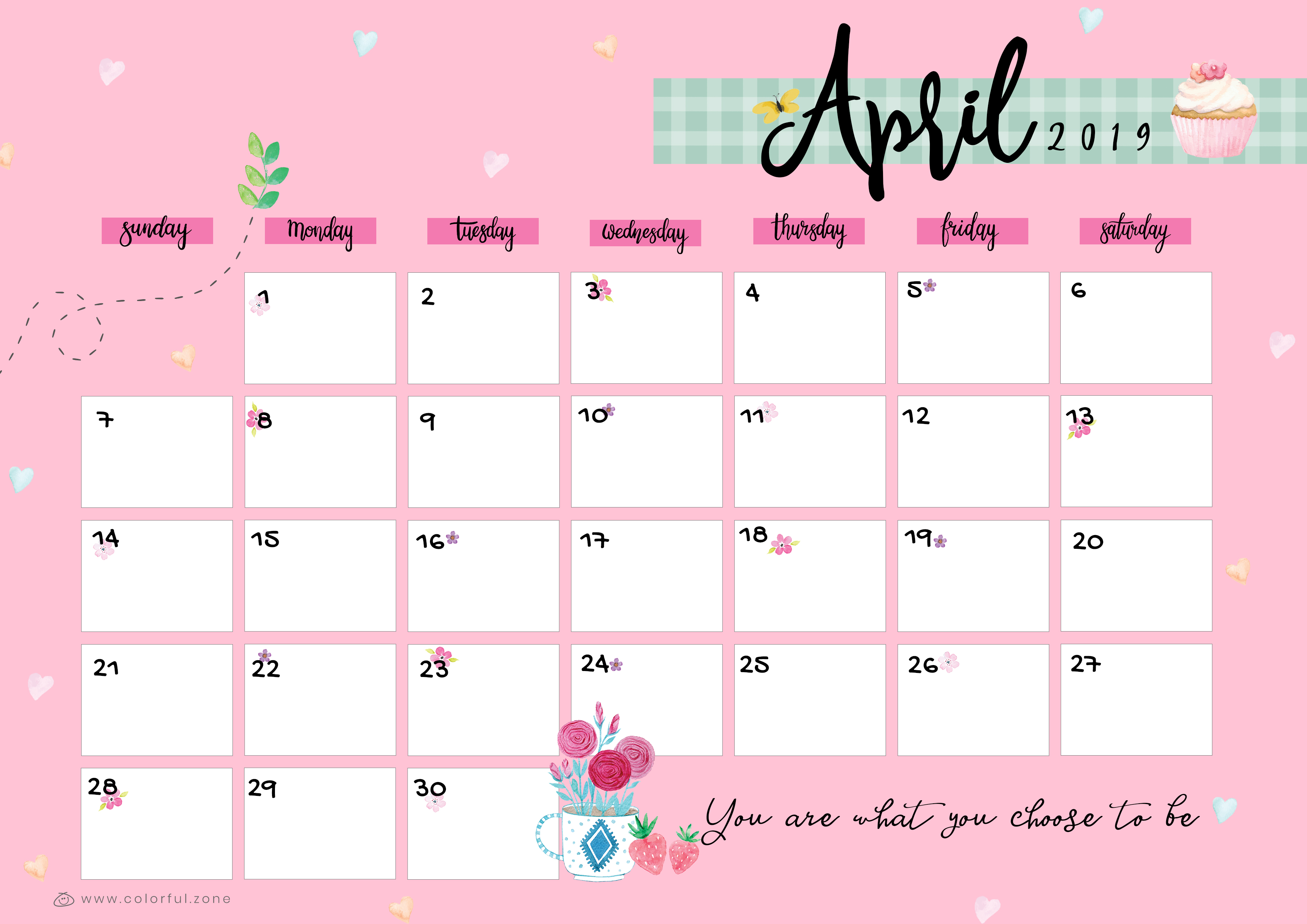 April Printable Colorful Calendar 2019