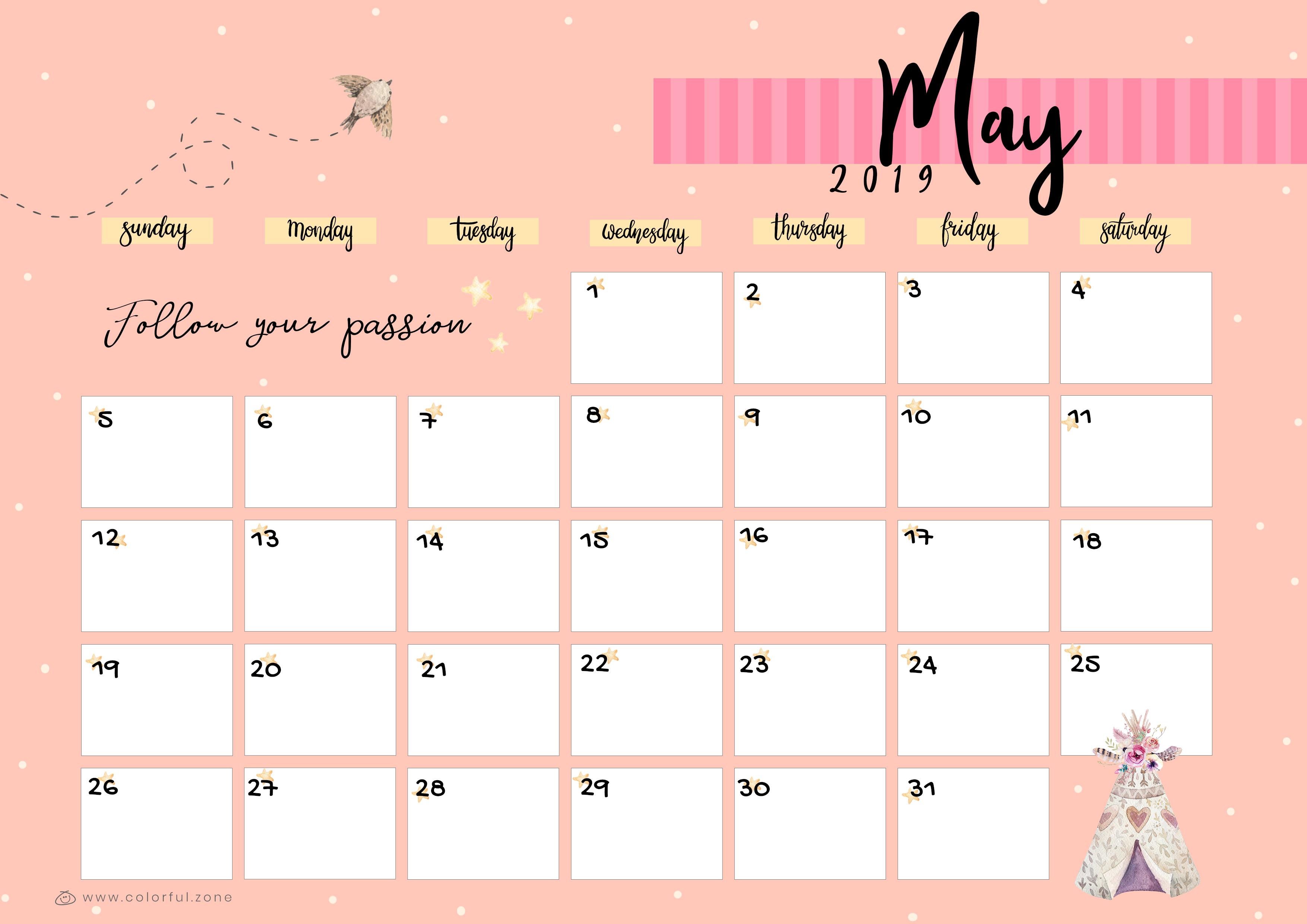 May Printable Colorful Calendar 2019