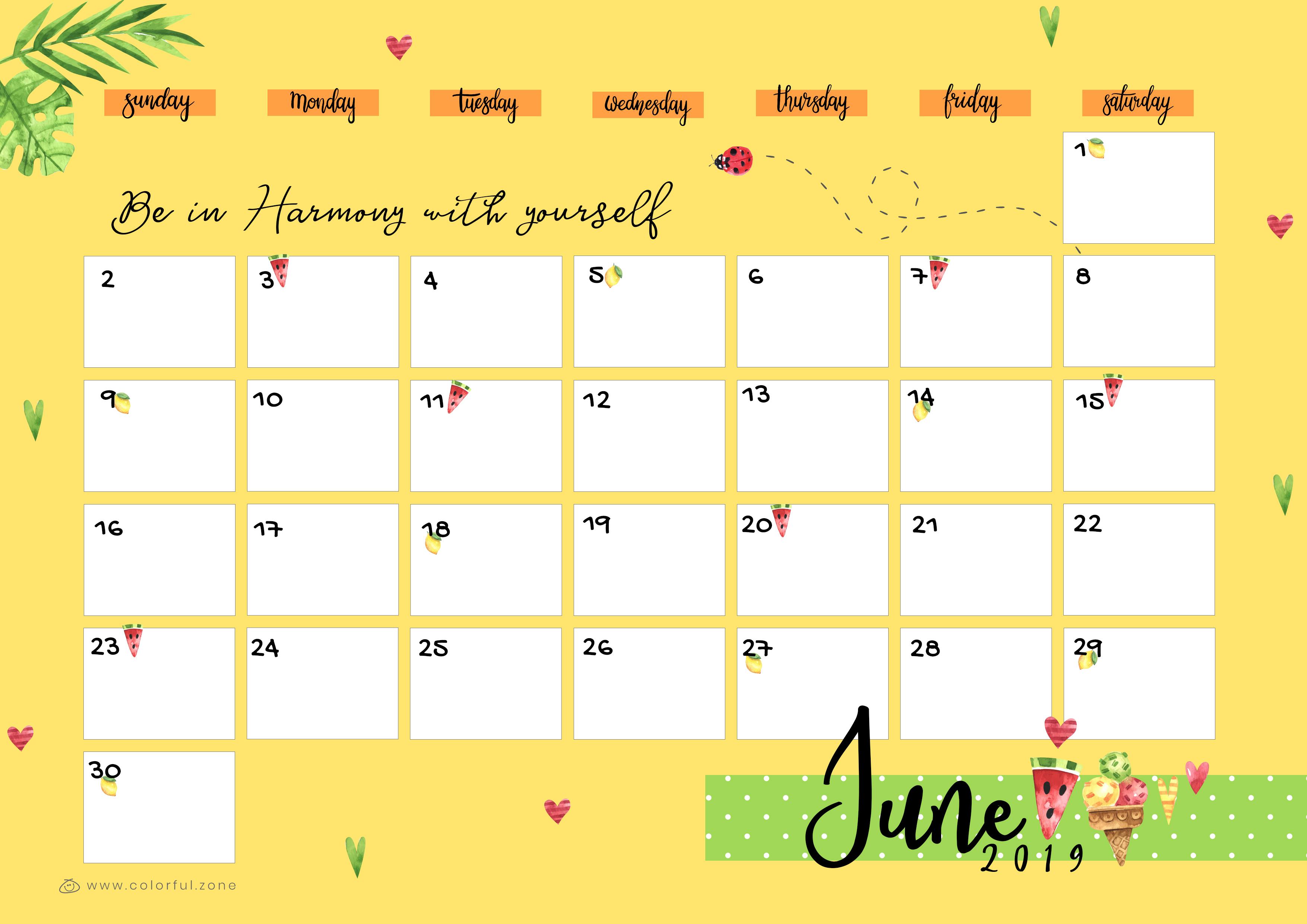 June Printable Colorful Calendar 2019