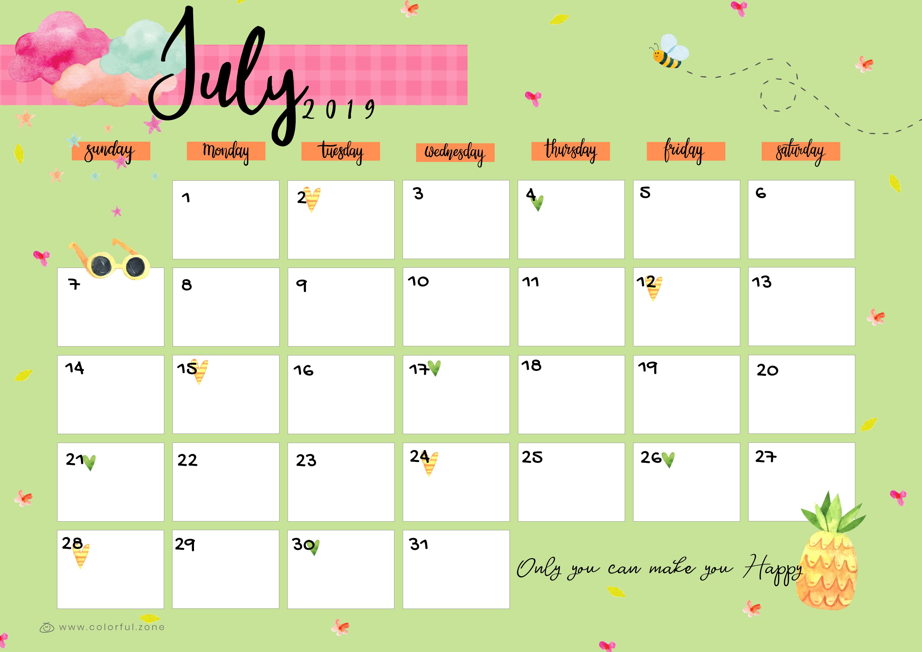 July Printable Colorful Calendar 2019