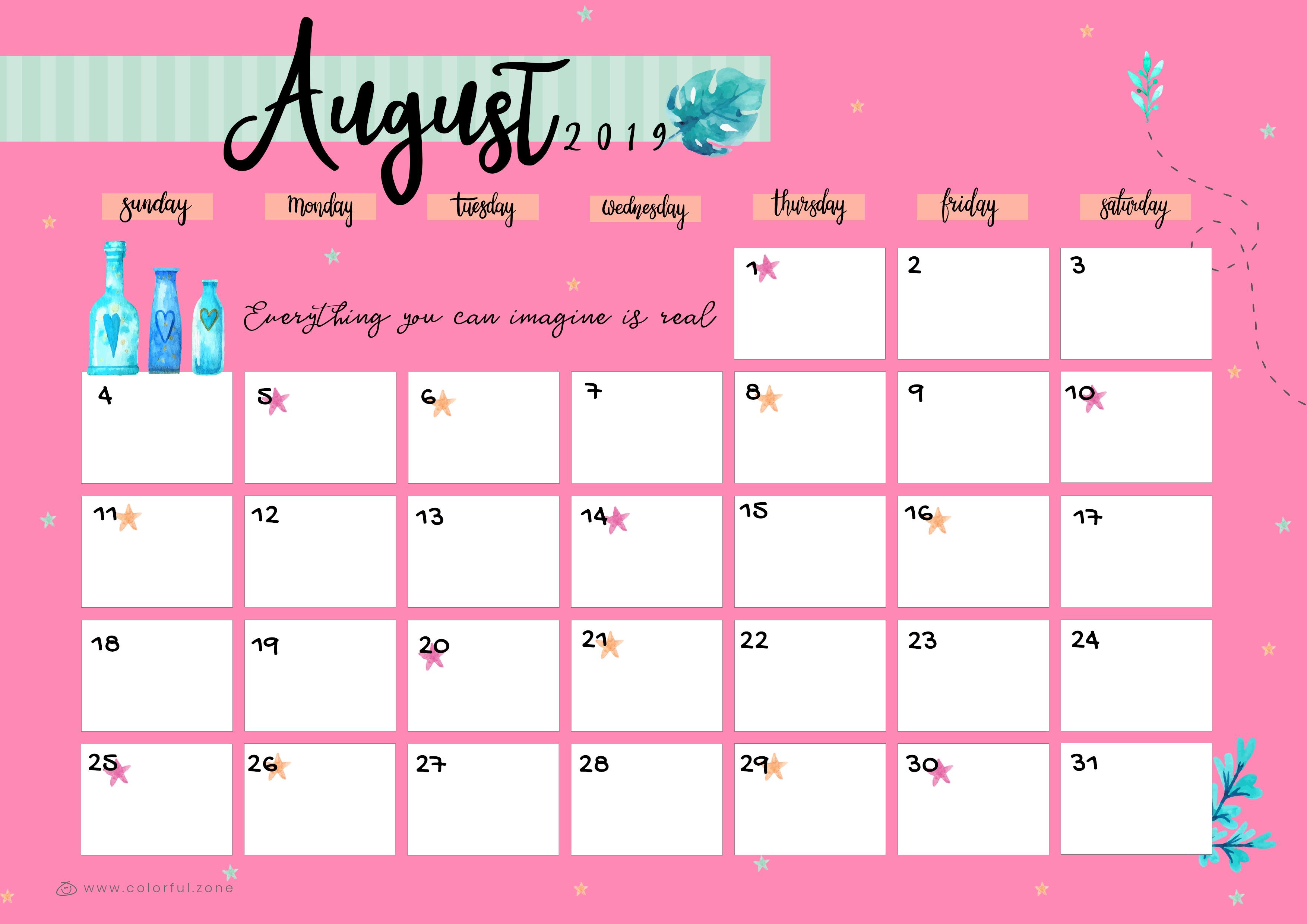 August Printable Colorful Calendar 2019