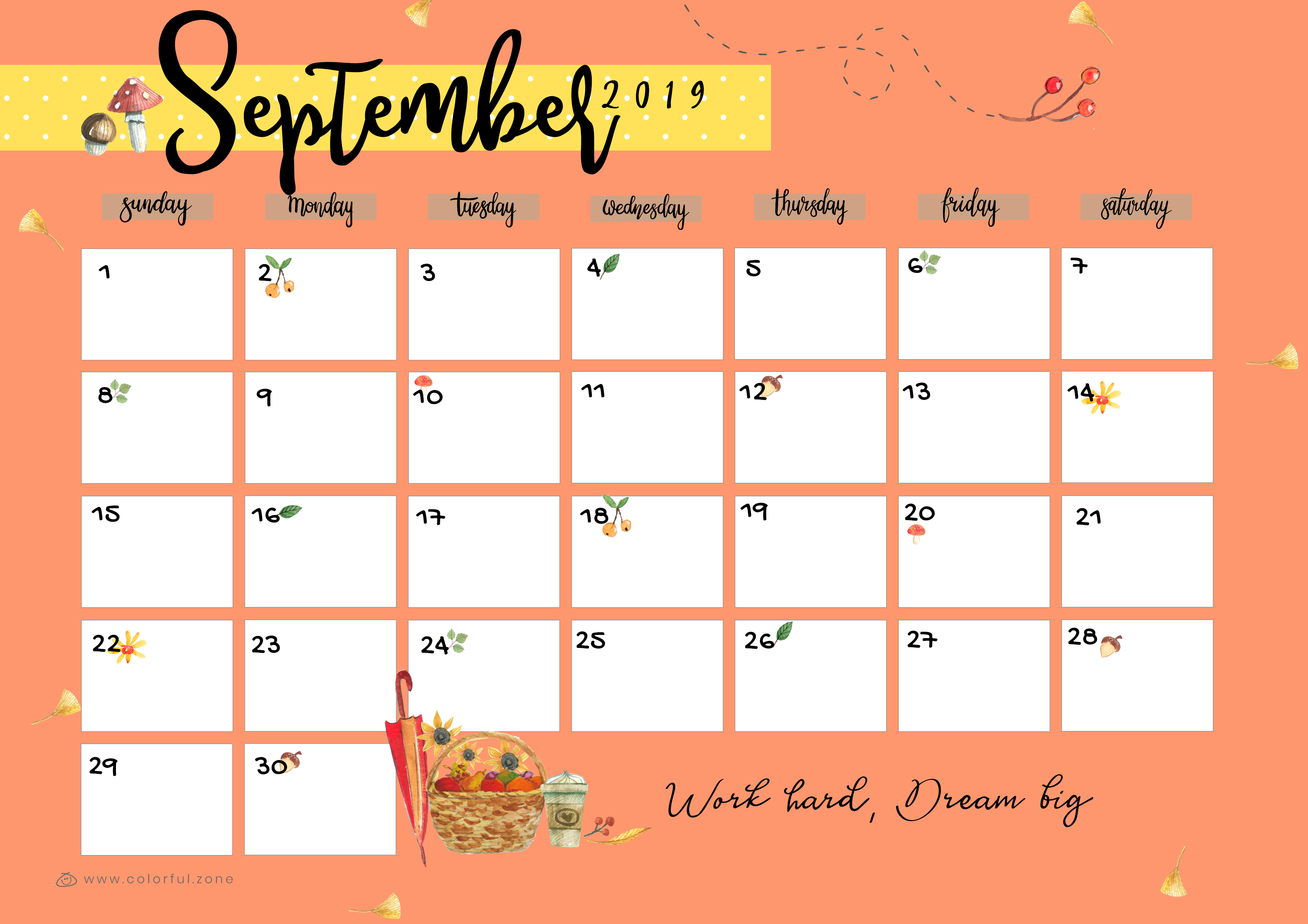 September Printable Colorful Calendar 2019